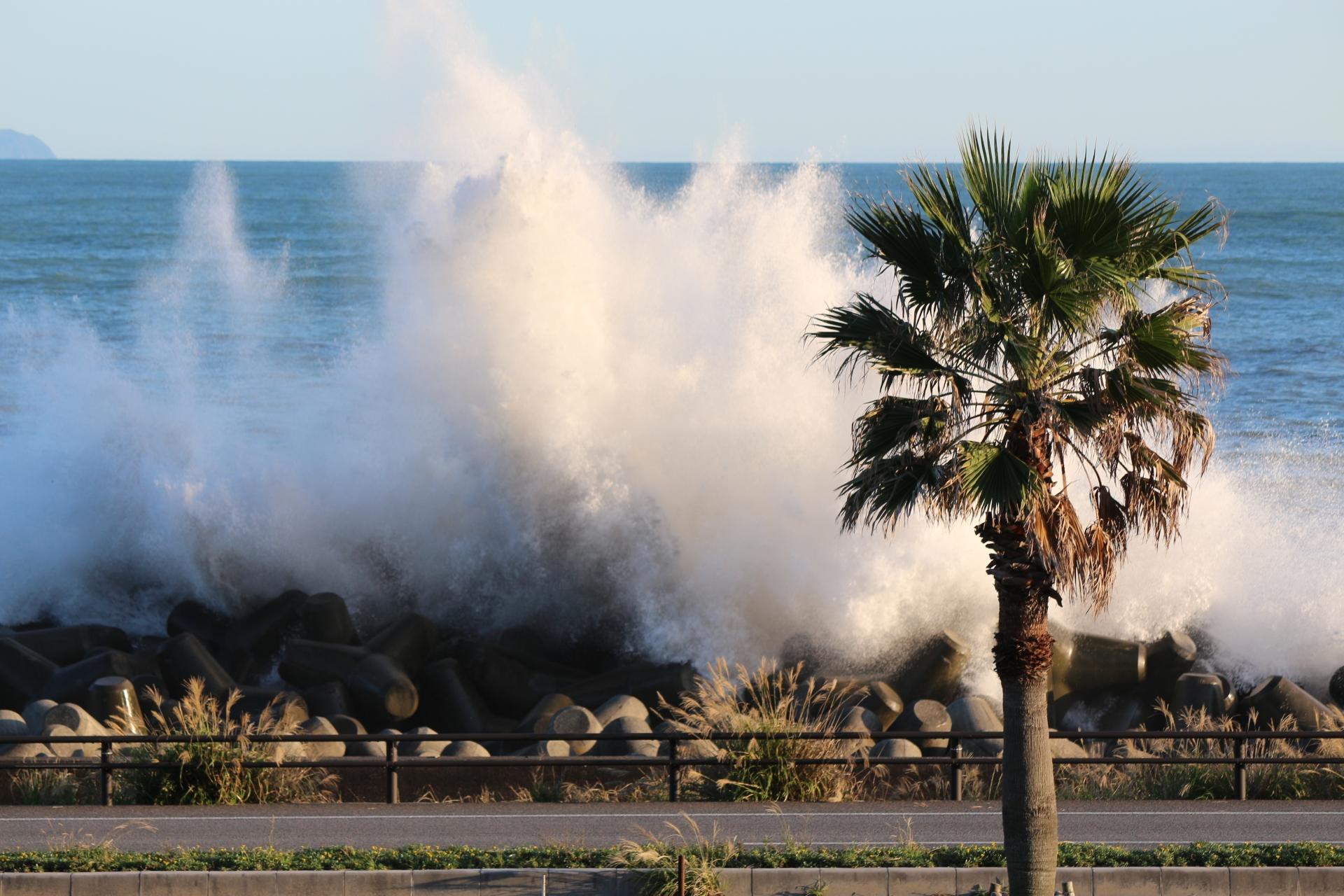 高波が襲ってくる久能海岸